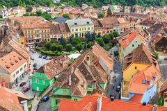 Aerial view of Old Town in Sighisoara Stock Images