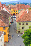 Aerial view of Old Town in Sighisoara Royalty Free Stock Image
