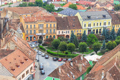 Aerial view of Old Town in Sighisoara Royalty Free Stock Images