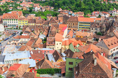 Aerial view of Old Town in Sighisoara Stock Photography