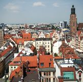 Aerial view of old town. And St. Elizabeth`s Church from St. Mary Magdalene Church in Wroclaw, Poland stock images