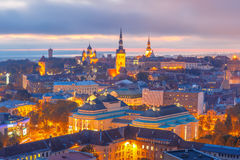 Aerial view old town at sunset, Tallinn, Estonia Royalty Free Stock Image