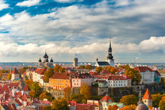 Aerial view old town, Tallinn, Estonia. Toompea hill with tower Pikk Hermann, Cathedral Church of Saint Mary Toomkirik and Russian Orthodox Alexander Nevsky Royalty Free Stock Photo