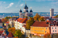 Aerial view old town, Tallinn, Estonia. Toompea hill with tower Pikk Hermann and Russian Orthodox Alexander Nevsky Cathedral, view from the tower of St. Olaf Royalty Free Stock Images