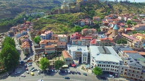 Aerial view of old town of Tbilisi stock video
