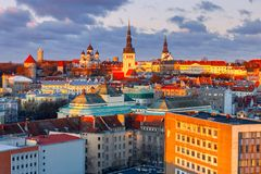 Tallinn. The Alexander Nevsky Cathedral on Toompea Hill. Aerial view of the old town and Toompea hill at dawn. Tallinn. Estonia Royalty Free Stock Images
