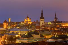 Tallinn. The Alexander Nevsky Cathedral on Toompea Hill. Aerial view of the old town and Toompea hill at night. Tallinn. Estonia Royalty Free Stock Image