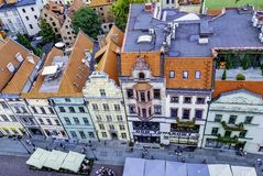 Aerial view of Old Town in Torun, Poland stock photos