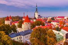Aerial view old town in the twilight, Tallinn, Estonia Royalty Free Stock Images