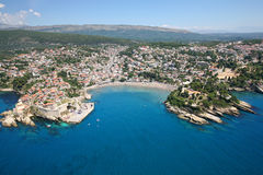 Aerial view of the old town Ulcinj, Montenegro. Royalty Free Stock Photo