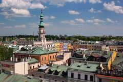 Aerial view of Old Town of Zamosc, Poland.  Royalty Free Stock Photos