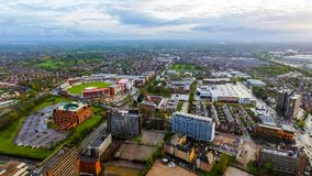 Aerial View Of Old Trafford Cricket Ground in Manchester Urban City
