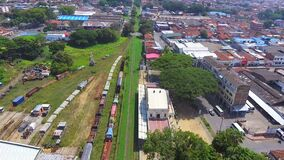 Aerial panoramic view of old train station