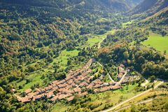 Aerial view of an old village in France: Montsegur Stock Images