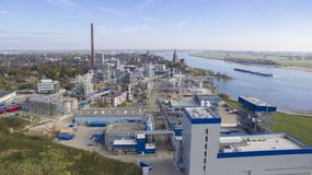 Aerial view on oleochemical industry stock photography