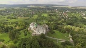 Aerial view of Olesko Castle in Lviv region, Ukraine. 4k stock video footage