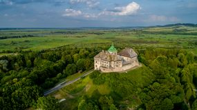 Aerial view of the Olesky Castle. Very beautiful castle near Lviv. royalty free stock photos