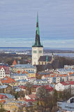 Aerial view of Oleviste St.Olaf church in old city of Tallinn Stock Photo