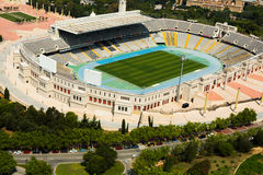 Aerial view of Olimpic stadium of Barcelona.  Spain Royalty Free Stock Image