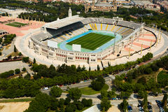 Aerial view of Olimpic stadium of Barcelona Stock Photo