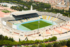 Aerial view of Olimpic stadium of Barcelona Stock Photography