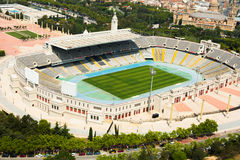 Aerial view of Olimpic stadium of Barcelona Stock Image