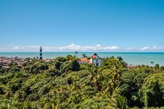 Aerial view of Olinda Lighthouse and Church of Our Lady of Grace, Catholic Church built in 1551, Olinda, Pernambuco, Brazil. Aerial view of Olinda Lighthouse and Stock Images