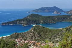 Aerial view of Oludeniz, Turkey. Aerial view of Oludeniz bay on the Mediterranean coast of Turkey Royalty Free Stock Photo