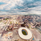 Aerial view of the Olympic Stadium and Kiev city. Ukraine. Royalty Free Stock Images