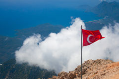 Aerial view of Olympos. And mountain range of Central Taurus from top of Tahtali. Kemer, Antalya province, Turkey Stock Photo