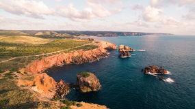 Aerial view om a beautiful cliffs on west coast of Portugal near Carrapateira, Rota Vicentina. Stock Photography