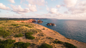 Aerial view om a beautiful cliffs on west coast of Portugal near Carrapateira, Rota Vicentina. Stock Photos