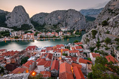 Aerial View on Omis and Cetina River Gorge in the Evening Stock Image
