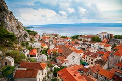 Aerial view of Omis and Church of the Holy Cross Royalty Free Stock Photo