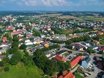 Free Aerial View On A Small Polish City With Trees And Fields Royalty Free Stock Photo - 122731445