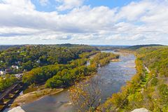 Free Aerial View On A Trail Along Potomac River And Buildings Near Harpers Ferry Railway Station. Stock Photography - 102835362