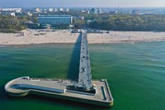 Free Aerial View On Kolobrzeg City, Area Of Pier And Beach At Baltic Sea Shore Stock Photos - 146075373