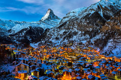 Free Aerial View On Zermatt Valley And Matterhorn Peak At Dawn Stock Images - 50755434