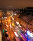 Aerial view of one of the central streets of Lviv in evening. Blurred car lights royalty free stock photo