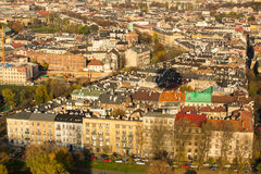 Aerial view of one of the districts in historical center of Krakow. Royalty Free Stock Photography