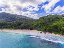 Anse Intendance. Aerial view on one of the most beautiful beaches on Mahe island - Intendance, Seychelles Stock Image