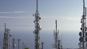 Aerial view of telecommunications towers antennas