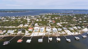 Aerial view of florabama beaches stock image