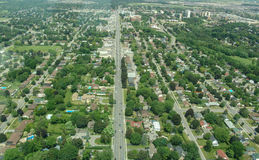 Aerial view of Ontario. Aerial view of residential area in summer time, Ontario, Canada Royalty Free Stock Photo