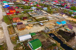 Aerial view onto construction in Borovskiy. Russia Stock Photos