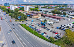 Aerial view onto intercity bus station. Tyumen Stock Photo