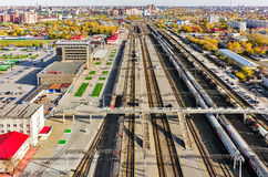 Aerial view onto railway station. Tyumen. Russia Royalty Free Stock Photos