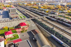 Aerial view onto railway station. Tyumen. Russia Royalty Free Stock Images