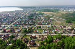Aerial view onto rural quarters. Borovskiy. Russia Stock Images