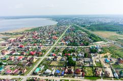 Aerial view onto rural street. Borovskiy. Russia Royalty Free Stock Images